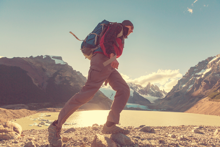sports background: Hike in Patagonia Stock Photo