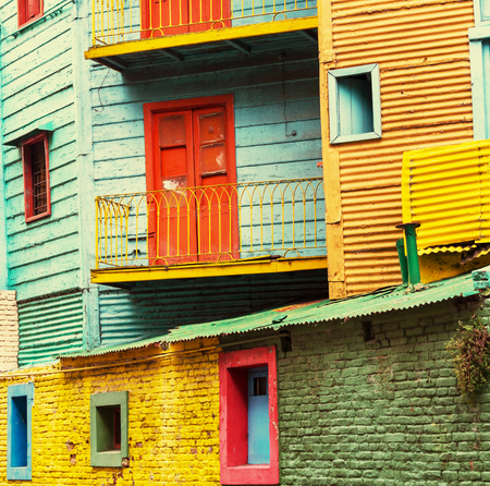 Bright colors of Caminito in La Boca neighborhood of Buenos Aires Stok Fotoğraf