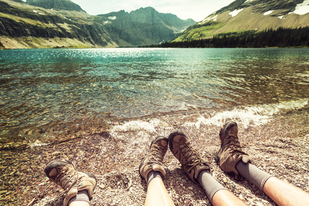 Hike in Glacier National Park, Montana 스톡 콘텐츠
