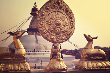 big buddha: Boudhanath stupa Kathmandu Nepal. Before earthquake.