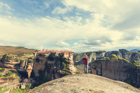 Tourist in Meteora Greece photo