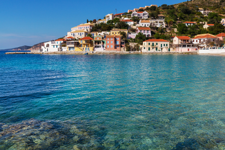Assos village and beautiful sea bay Kefalonia island Greece photo