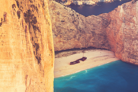 Beautiful Navagio Beach on Zakynthos Island in Greece photo