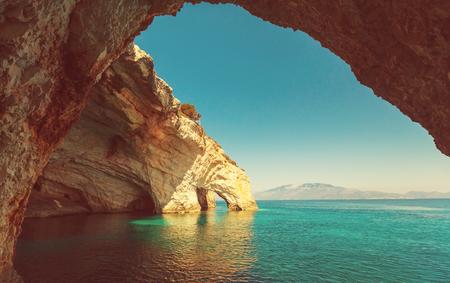그리스 자킨 토스 섬의 아름다운 바다 풍경 스톡 콘텐츠