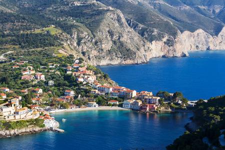 Assos village and beautiful sea bay in Kefalonia island, Greece photo