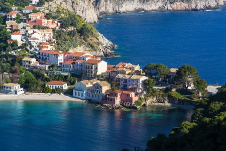 Assos village and beautiful sea bay Kefalonia island in Greece photo