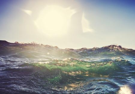 해변에서 파도