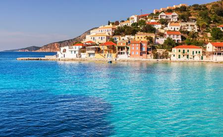 greece shoreline: Assos village and beautiful sea bay Kefalonia island Greece Stock Photo