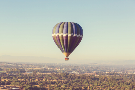 weather balloon: balloons above Teotihuacan Stock Photo