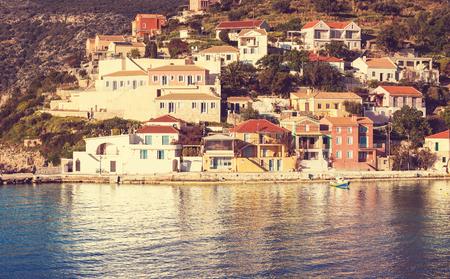 Assos village and beautiful sea bay Kefalonia island Greece photo