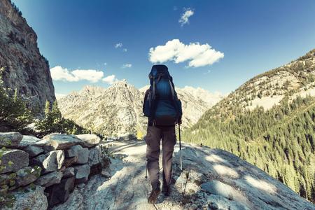 ハイキング 写真素材