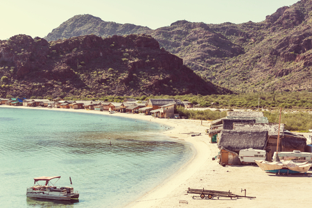 Tropical beach on Caribbean sea coast, Mexico photo