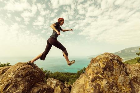 Happiness girl in jump Standard-Bild