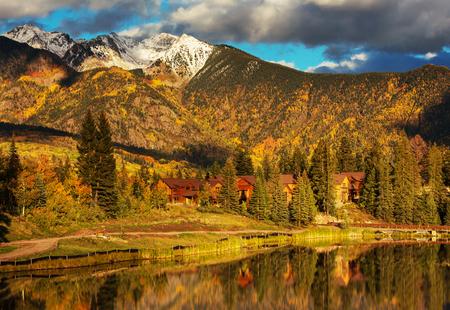 america countryside: The beautiful lake in autumn