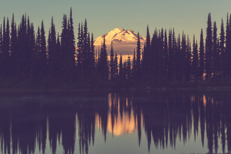evergreen: Image lake and Glacier Peak in Washington,USA