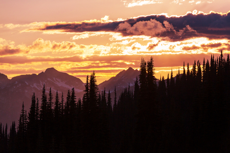 faintly visible: Sunset in mountains