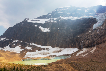 edith: Lake and Mount Edith Cavell in Jasper National Park,Canada Stock Photo