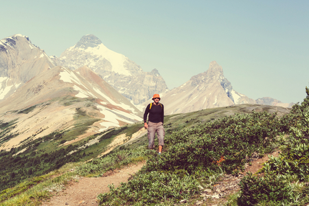 banff: Hiking man in the mountains Stock Photo