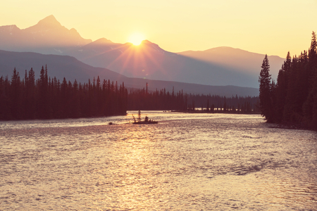 lookout: Athabasca River in Jasper National Park,Canada
