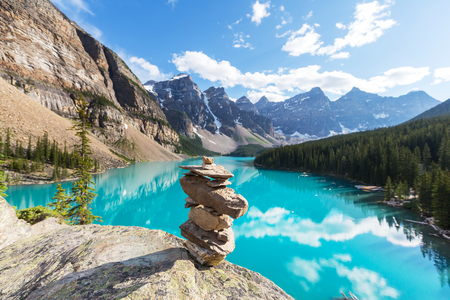 banff: Beautiful Moraine lake in Banff National park,Canada Stock Photo