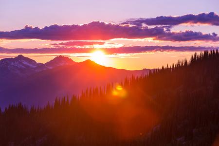 alpine water: Sunset on  summit  Haleakala , Hawaii Stock Photo