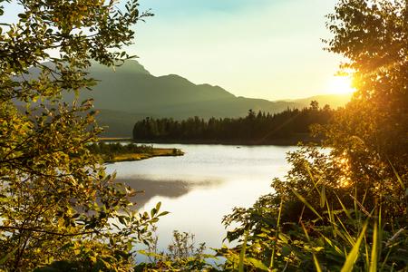 lake sunset: Sunset scene on lake