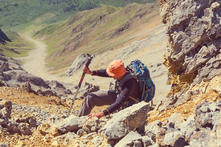 ascent: Ascent to Donoho peak,Alaska Stock Photo