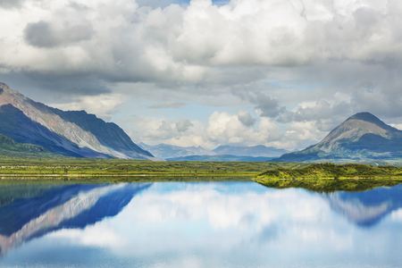 serenity: Serenity lake in tundra on Alaska Stock Photo