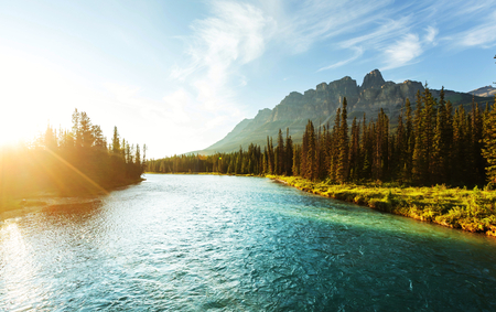 rivers mountains: Castle Mountain in Banff National Park, Canada.