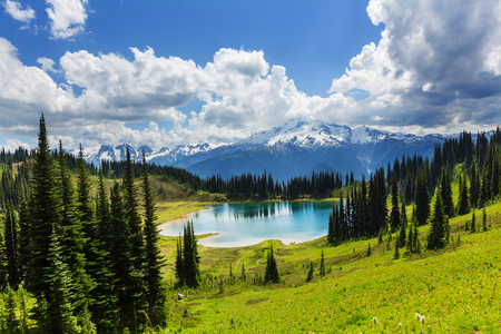 paisajes: Lago Imagen y pico del glaciar en Washington, EE.UU. Foto de archivo