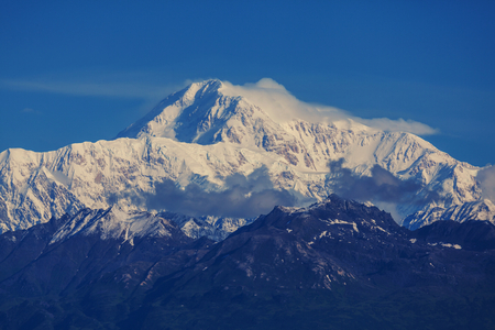 capped: Denali McKinley peak in Alaska, USA