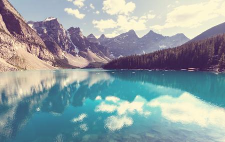calm: Beautiful Moraine lake in Banff National park, Canada