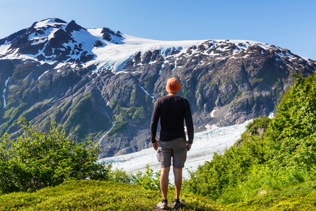 fjords: Hiker in Exit Glacier, Kenai Fjords National Park, Seward, Alaska Stock Photo
