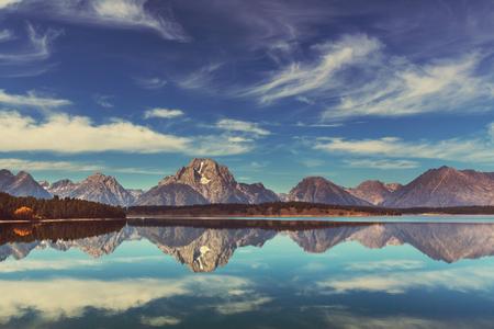 グランド ・ ティトン国立公園, ワイオミング、米国。Instagram のフィルター。 写真素材