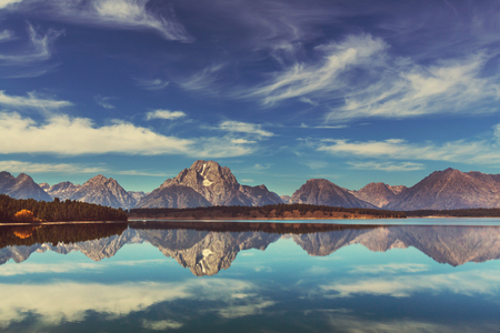 national parks: Grand Teton National Park, Wyoming, USA.Instagram filter.