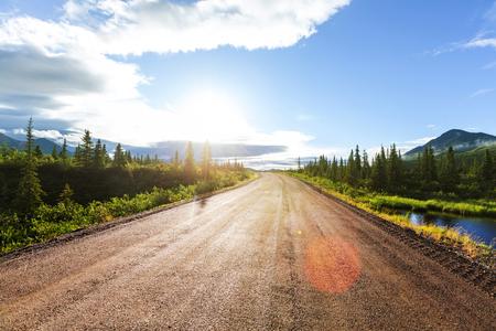 데날리 highway.Alaska에 풍경입니다. 인스 타 그램 필터.