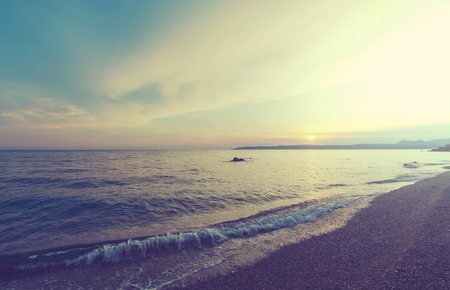 Scenic sunset at the sea