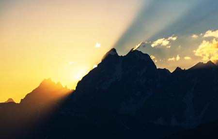 svaneti: Ushba peak, Caucasus Mountains. Svaneti