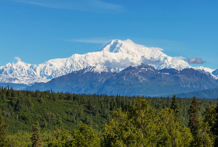 mount: Denali McKinley peak in Alaska, USA