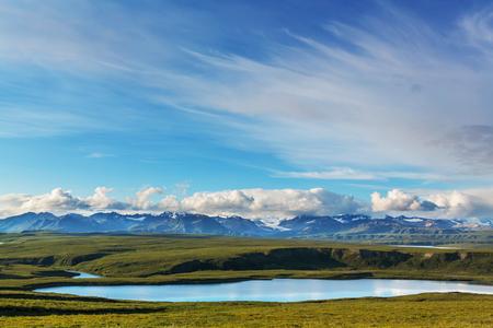 paisajes: Paisajes en la carretera de Denali, Alaska. Filtro de Instagram. Foto de archivo