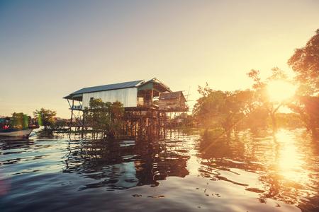 cambodian: Cambodian village on lake Stock Photo
