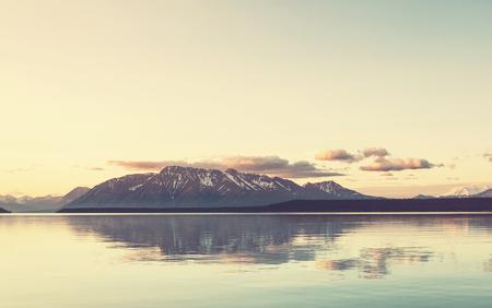 serenity: Serenity lake in tundra in Alaska Stock Photo