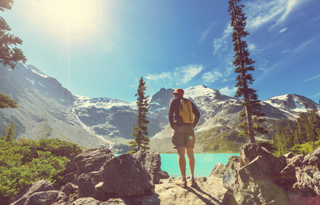 Canada: Hiking man in the mountains Stock Photo