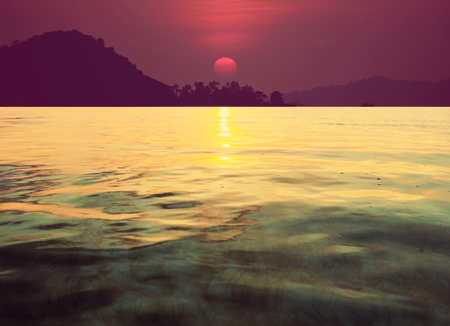 tranquil: Scenic sunset at the sea coast