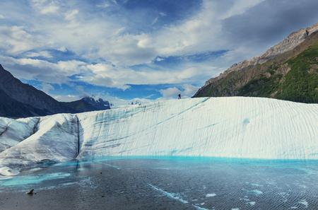 Lake on Kennicott glacier, Wrangell-St. Elias National Park, Alaska Imagens