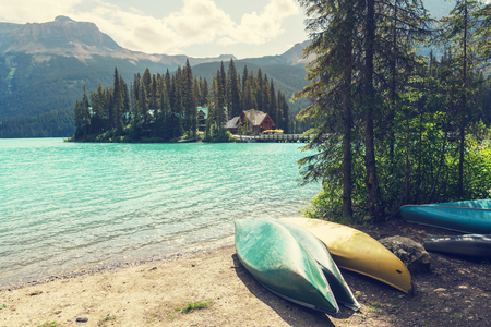 canada: Serenity Emerald Lake in the Yoho National Park, Canada.