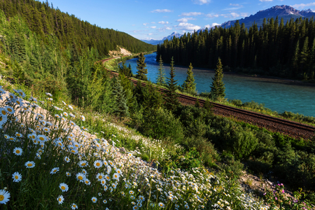 banff: View over a river through the Rocky Mountains, Banff, Canada Stock Photo