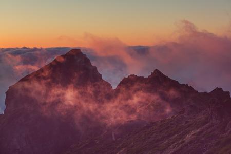 dark skies: Sunset in mountains