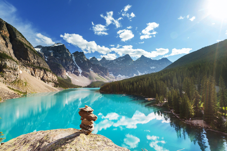 nature: Beautiful Moraine lake in Banff National park, Canada