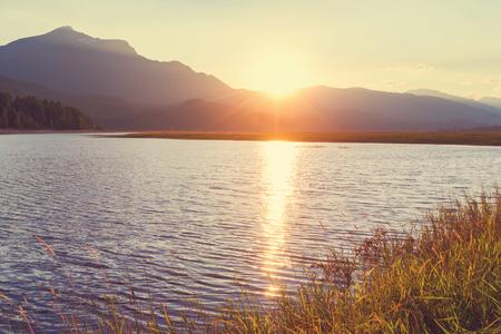 sunset lake: Sunset scene on lake